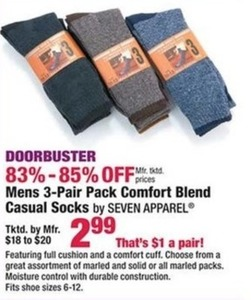 Mens 3 Pair Pack Comfort Blend Casual Socks