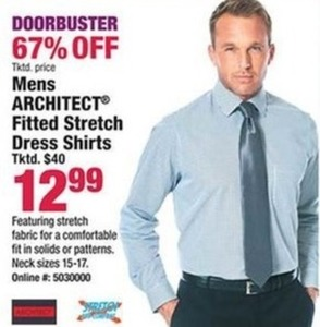 Mens Architect Fitted Stretch Dress Shirts
