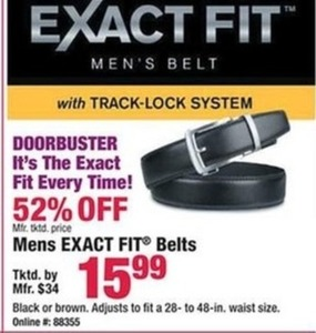 Mens Exact Fit Belts