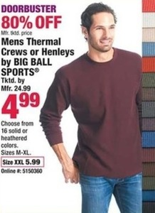 Mens Thermal Crews or Henleys by Big Ball Sports