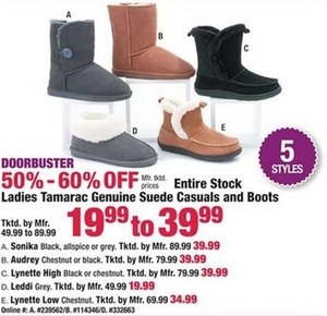 Entire Stock Ladies Tamarac Genuine Suede Casuals and Boots