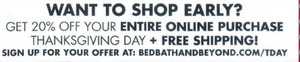 Entire Online Purchase Thanksgiving Day + Free Shipping