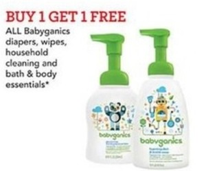 All Babyganics diapers, wipes, household cleaning and bath and body essentials