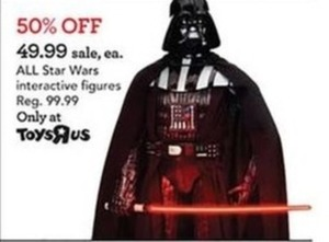 50% Off All Star Wars Interactive Figures