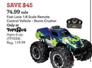 Fast Lane 1:8 Scale Remote Control Vehicle - Storm Crusher