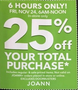 Sitewide Coupon, Fri, Nov 24, 6AM - Noon