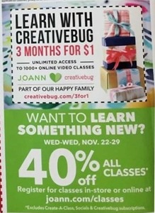 40% Off All Classes, In-Store Coupon