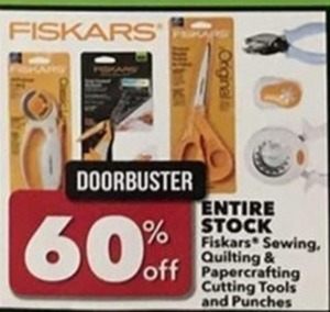 Entire Stock Fiskars Sewing, Quilting, and Papercrafting Cutting Tools and Punchers