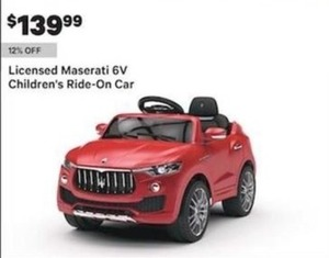 Licensed Maserati 6V Children's Ride-On Car
