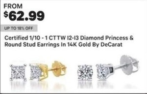 Certified 1/10 1 CTTW 12-13 Diamond Princess & Round Stud Earrings In 14K Gold