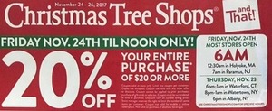 Christmas Tree Shops Coupon 6am-12pm Only
