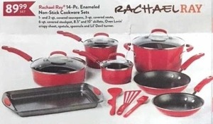 Rachael Ray 14-Piece Enameled Non-Stick Cookware Sets