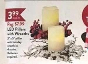 LED Pillars W/ Wreaths (4 Styles)