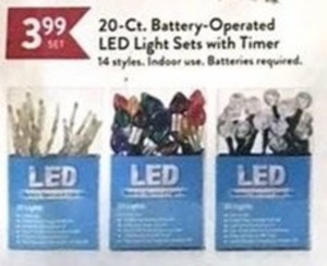 20-Ct. Battery-Operate LED Light Sets w/ Timer