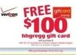 hhgregg $100 hhgregg Gift Card w/ Verizon Phone Purchase