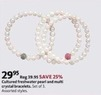 AAFES Set of 3 Cultured Freshwater Pearl and Multi Crystal Bracelets