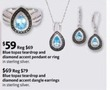 AAFES Blue Topaz Teardrop and Diamond Accent Pendant