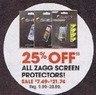 Radio Shack 25% Off All Zagg Screen Protectors