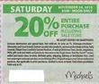 Michaels Micahel's In-Store Coupon - Saturday