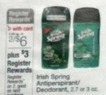 Walgreens Irish Spring Antiperspirant/Deodorant 2.7 or 3 oz