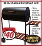 "Fred's 26"" Charcoal Barrel Cart Grill"