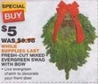 Home Depot Fresh-Cut Mixed Evergreen Swag w/ Bow
