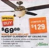 "Home Depot Hunter Claremont 52"" Ceiling Fan with Light"