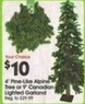 A.C. Moore 4' Pine-Lit Alpine Tree or 9' Canadian Lighted Garland