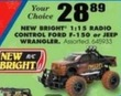 Blain's Farm and Fleet New Bright 1:15 RAdio Control Ford F-150 or Jeep Wrangler
