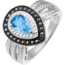 AAFES Blue Topaz Teardrop and Diamond Accent Ring