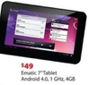 "Walmart Ematic 7"" Android Tablet, 1Ghz, 4GB"