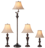 Lowes 4pc Bronze Faux Marble Lamp Set