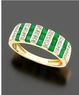 Macys 14k Gold Emerald (9/10 ct. t.w.) & Diamond (1/10 ct. t.w.) Ring