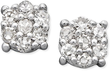 Macys 14k White Gold Diamond Cluster Stud Earrings (1/10 ct. t.w.)