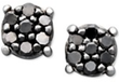 Macys Black Diamond 14k White Gold Cluster Stud Earrings