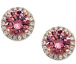 Macys 14k Rose Gold Pink Swarovski Zirconia Stud Earrings