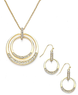 Macys Charter Club Pave Glass Circle Pendant and Earrings Set