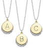 Macys 14K Goldplated Initial Pendants w/ Crystals
