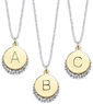 Macys 14k Gold and Sterling Silver Plated Crystal Inital Pendants