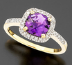 Macys 14k Gold Cushion-Cut Amethyst &amp; Diamond Ring