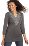 Macys Karen Scott Three-Quarter-Sleeve Embroidered Tunic