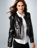 Macys Ellen Tracy Women's Long-Sleeve Quilted Faux-Leather Jacket