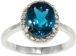 Overstock.com Sterling Silver London Oval Blue Topaz &amp; Diamond Ring