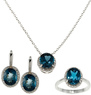 Overstock.com Sterling Silver London Oval Blue Topaz &amp; Diamond Set