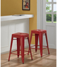 Overstock.com Tabouret 24&quot; Red Metal Counter Stool Set of 2