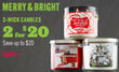 Bath & Body Works Merry & Bright 3-Wick Candles