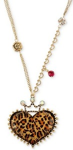 Betsey Johnson Leopard Heart Necklace
