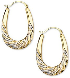 14k Two-Tone Gold Oval-Hoop Earrings