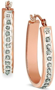 14k Rose Gold Diamond Accent Pear-Shaped Hoop Earrings