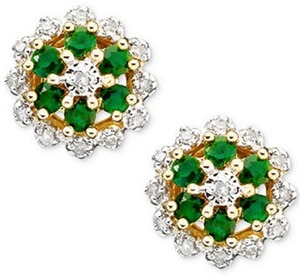 10k Gold Emerald & Diamond Button Earrings